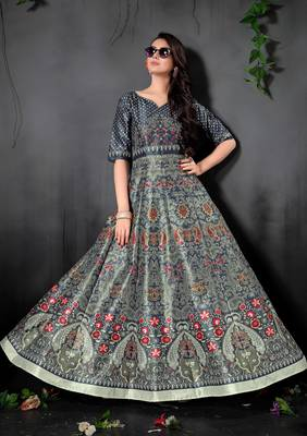 Stunning Grey Colored Digital Print Partywear Designer Gown (Stitched)
