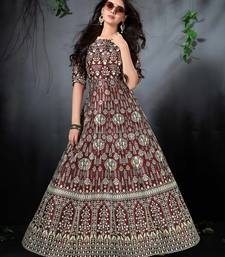Blooming Brown Floral Print Silk Partywear Designer Gown (Stitched)
