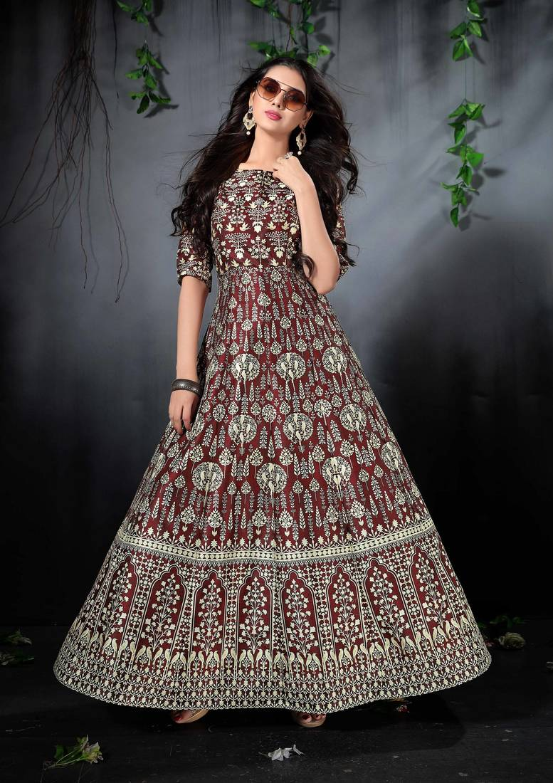 ec28257026d Blooming brown floral print silk partywear designer gown (stitched)