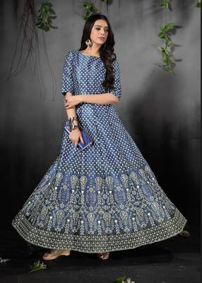 Alluring Blue Colored Floral Print Partywear Designer Gown (Stitched)