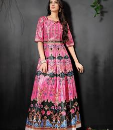 Amazing Pink Colored Digital Print Partywear Designer Gown (Stitched)