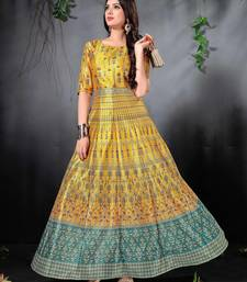 Yellow Colored Floral Print Partywear Designer Gown (Stitched)