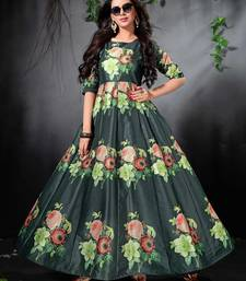Glorious Green Colored Floral Print Partywear Designer Gown (Stitched)