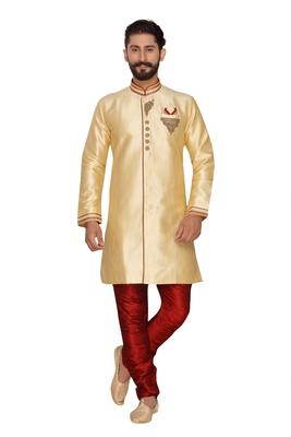 Beige Cream Embroidered Jaquard Silk Indo Western Dresses