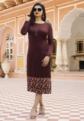 Wine Colour Printed Satin Readymade Kurti
