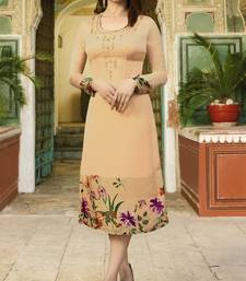 Chiku Colour Printed Satin Readymade Kurti