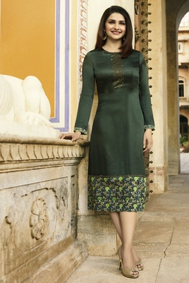 Dark Green Colour Printed Satin Readymade Kurti