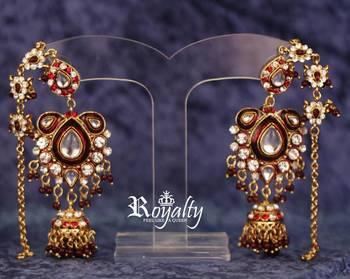 Royal kundan Long Chain Jhumki Earrings studded crystals