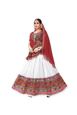 White Embroidered Cotton Navratri Lehenga Chaniya Choli