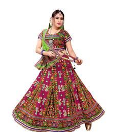 Pink Embroidered Cotton Navratri Lehenga Chaniya Choli lehenga-choli