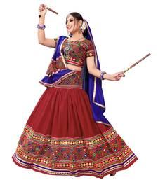 Red Embroidered Cotton Navratri Lehenga Chaniya Choli lehenga-choli