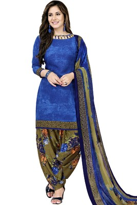 Blue Abstract Print Crepe Salwar With Dupatta