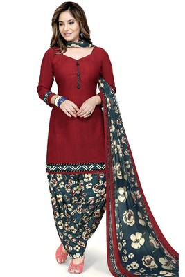Maroon abstract print crepe salwar with dupatta