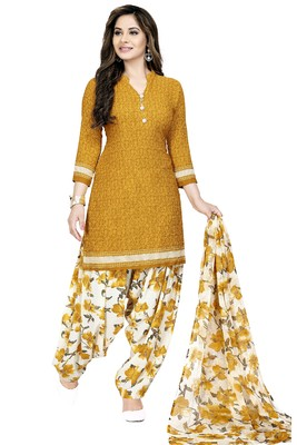 Mustard abstract print crepe salwar with dupatta