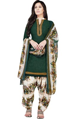 Green abstract print crepe salwar with dupatta