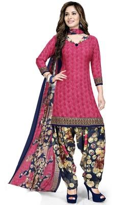 Pink abstract print crepe salwar with dupatta