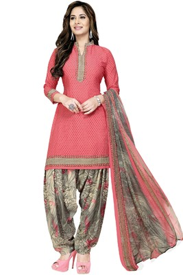 Peach Abstract Print Crepe Salwar With Dupatta