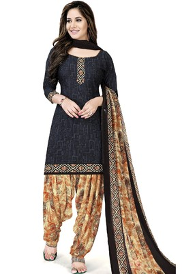 Navy-blue abstract print crepe salwar with dupatta