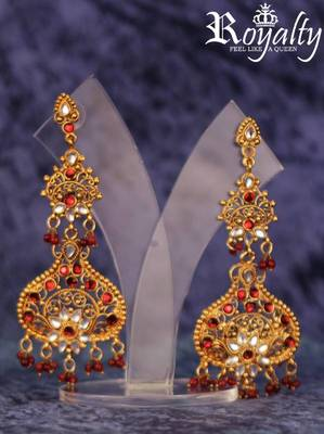 Royal Golden Red-Chandalier Kundan Earrings