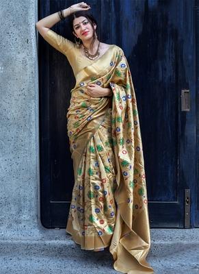 6510a70688b4ba Beige woven banarasi saree with blouse - Monjolika - 2700758