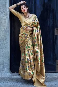 17c4818e41c27 Beige woven banarasi saree with blouse