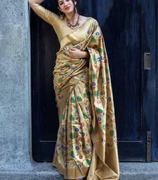 Beige woven banarasi saree with blouse