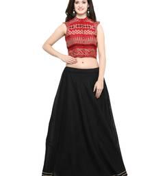 Buy Inddus Red And Red Unstitched Cotton Lehenga Choli cotton-lehenga online