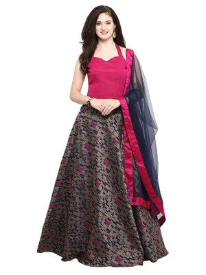 Inddus Magenta Pink And Dark Magenta Unstitched Cotton Lehenga Choli With Dupatta