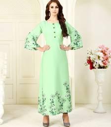 Buy Light-green printed crepe kurti party-wear-kurtis online