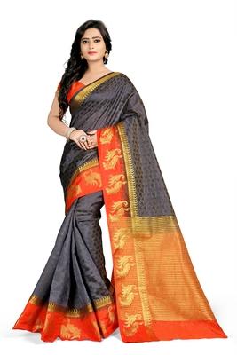 Black plain cotton silk saree with blouse