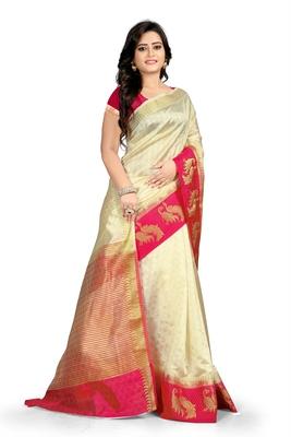 Off white plain cotton silk saree with blouse