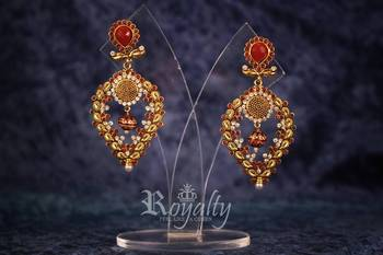Royal Golden Red Diamonds Pearl Earrings