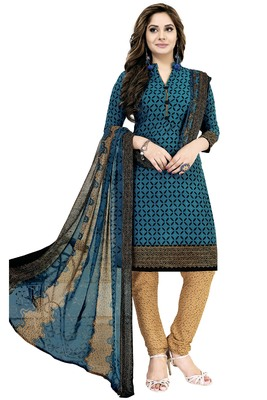 Teal Abstract Print Crepe Salwar