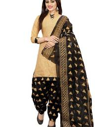 Buy Beige abstract print crepe salwar women-ethnic-wear online