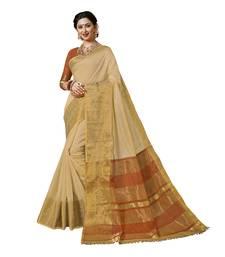 Buy Beige woven chanderi silk saree with blouse chanderi-saree online