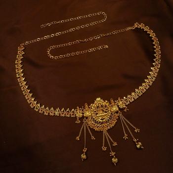 Ruby Green Laxmi Copper High Premium Gold Polish Adjustable Temple Kamarband Wedding Festival Jewellery
