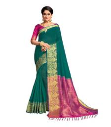 Buy Teal woven banarasi cotton saree with blouse women-ethnic-wear online