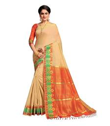 Buy Beige woven banarasi cotton saree with blouse women-ethnic-wear online