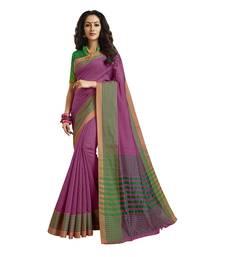 Buy Purple woven cotton saree with blouse cotton-saree online