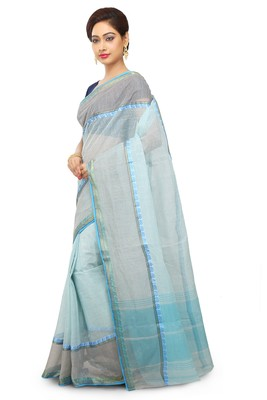 Blue Plain Cotton Saree