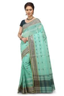 596708ab9ea1e2 Green Plain Cotton Saree