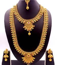 Buy Copper Ruby Green  Short Long Combo Necklace Earring Jewelry Set women-ethnic-wear online