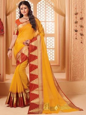 2294eccd73a30 Yellow woven cotton silk saree with blouse - Shangrila Designer - 2702290