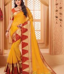 Buy Yellow woven cotton silk saree with blouse great-indian-saree-festival online