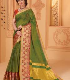 Buy Green woven cotton silk saree with blouse great-indian-saree-festival online