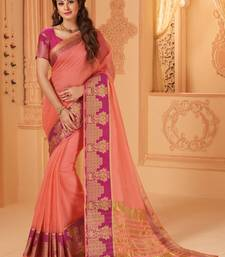 Buy Orange woven cotton silk saree with blouse great-indian-saree-festival online