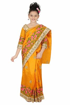 Bhartiya Paridhan gold embroidered net kids sarees