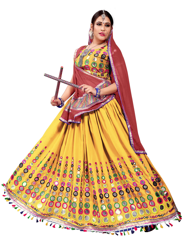 c1e327f035 Yellow Embroidered Cotton Navratri Lehenga Chaniya Choli - Mirchi Fashion -  2702800