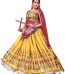 Yellow Embroidered Cotton Navratri Lehenga Chaniya Choli lehenga-choli