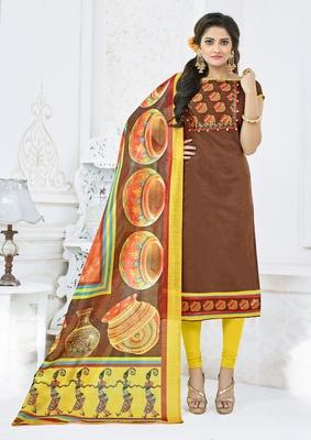 Brown printed chanderi salwar with dupatta